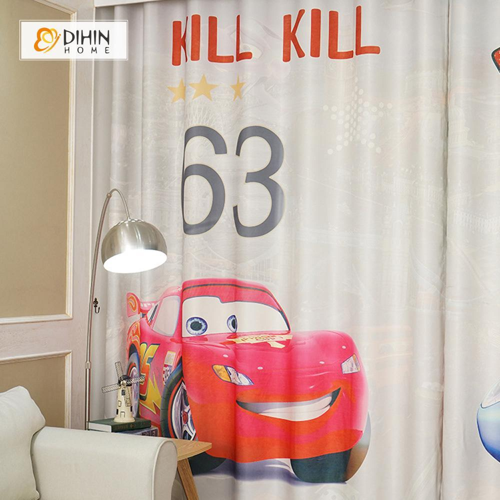 DIHINHOME Home Textile Modern Curtain DIHIN HOME 3D Printed Cute Cars Blackout Curtains ,Window Curtains Grommet Curtain For Living Room ,39x102-inch,2 Panels Included