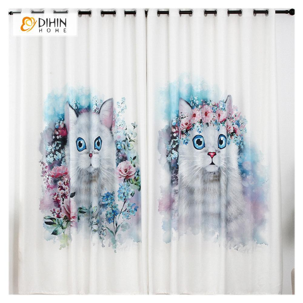 DIHINHOME Home Textile Modern Curtain DIHIN HOME 3D Printed Cute Cats Blackout Curtains ,Window Curtains Grommet Curtain For Living Room ,39x102-inch,2 Panels Included