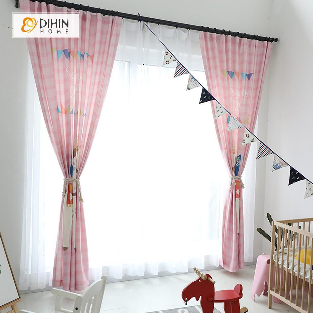 DIHINHOME Home Textile Modern Curtain DIHIN HOME 3D Printed Cute Unicorn Blackout Curtains ,Window Curtains Grommet Curtain For Living Room ,39x102-inch,2 Panels Included