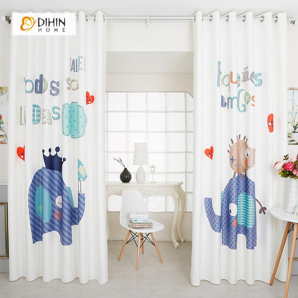 DIHINHOME Home Textile Modern Curtain DIHIN HOME 3D Printed Dark Blue Elephant Blackout Curtains ,Window Curtains Grommet Curtain For Living Room ,39x102-inch,2 Panels Included