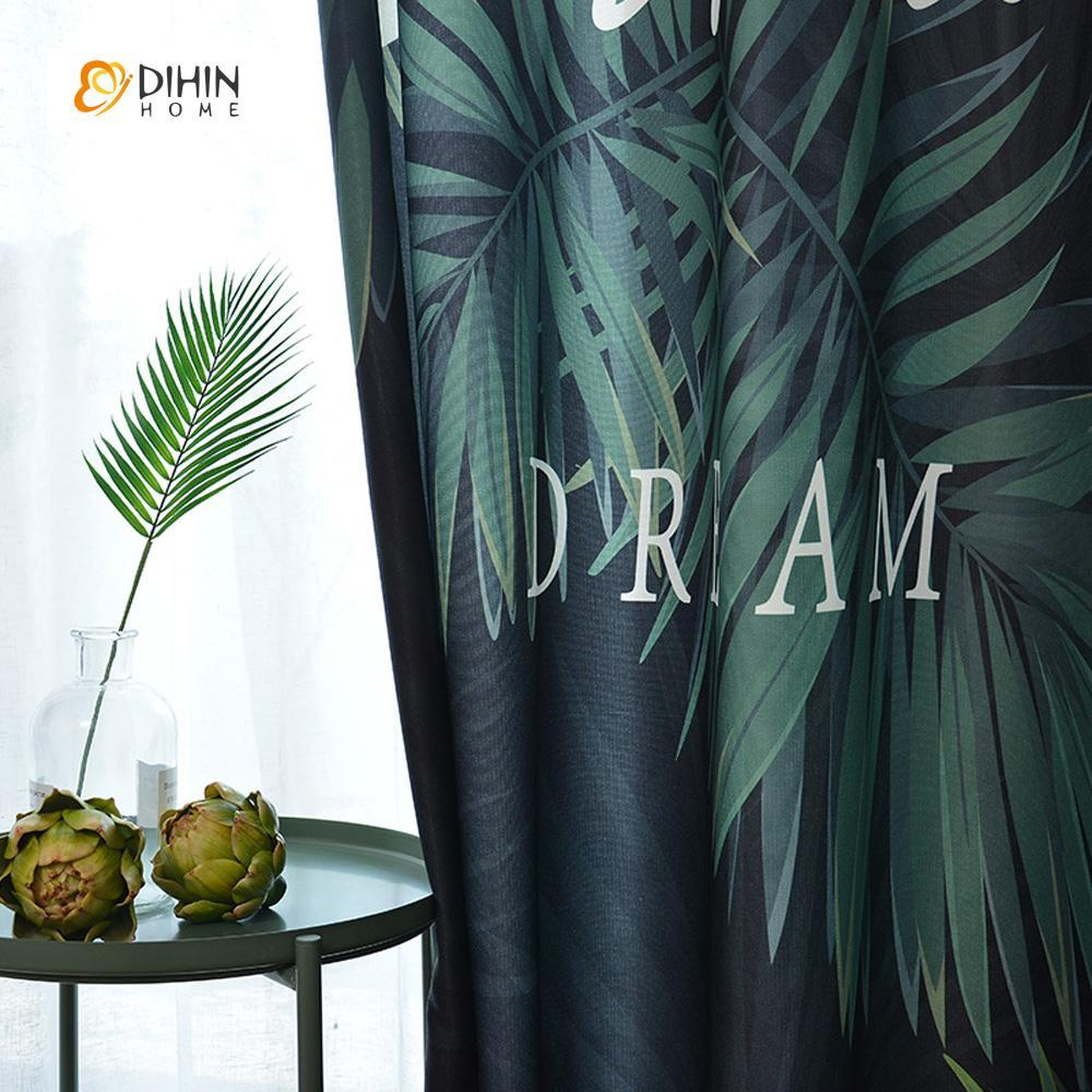 DIHINHOME Home Textile Modern Curtain DIHIN HOME 3D Printed Dark Green Leaves Blackout Curtains ,Window Curtains Grommet Curtain For Living Room ,39x102-inch,2 Panels Included