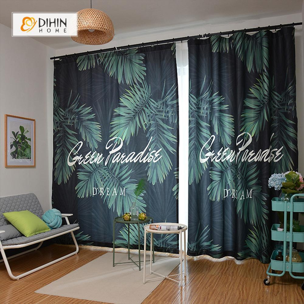 3D Zebra Palm Leaves Blockout Photo Printing Curtain Drapes 2Panel Fabric Window