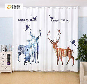 DIHINHOME Home Textile Modern Curtain DIHIN HOME 3D Printed Deer and Birds Blackout Curtains ,Window Curtains Grommet Curtain For Living Room ,39x102-inch,2 Panels Included