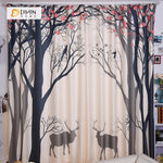 DIHINHOME Home Textile Modern Curtain DIHIN HOME 3D Printed Deer and Tree Blackout Curtains ,Window Curtains Grommet Curtain For Living Room ,39x102-inch,2 Panels Included