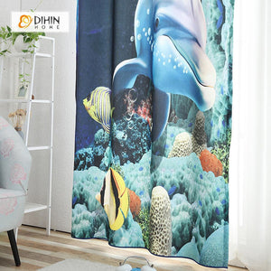 DIHINHOME Home Textile Modern Curtain DIHIN HOME 3D Printed Dolphin Blackout Curtains ,Window Curtains Grommet Curtain For Living Room ,39x102-inch,2 Panels Included