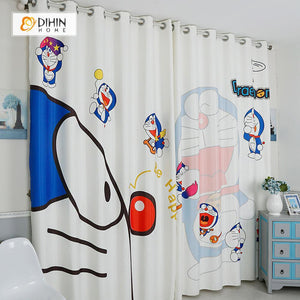 DIHINHOME Home Textile Modern Curtain DIHIN HOME 3D Printed Doraemon Blackout Curtains ,Window Curtains Grommet Curtain For Living Room ,39x102-inch,2 Panels Included