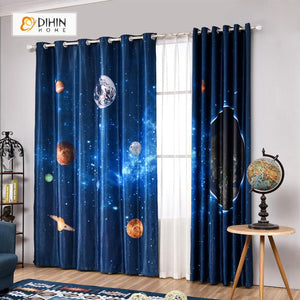 DIHINHOME Home Textile Modern Curtain DIHIN HOME 3D Printed Earth Blackout Curtains ,Window Curtains Grommet Curtain For Living Room ,39x102-inch,2 Panels Included