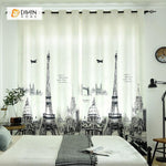 DIHINHOME Home Textile Modern Curtain DIHIN HOME 3D Printed Eiffel Tower Blackout Curtains ,Window Curtains Grommet Curtain For Living Room ,39x102-inch,2 Panels Included