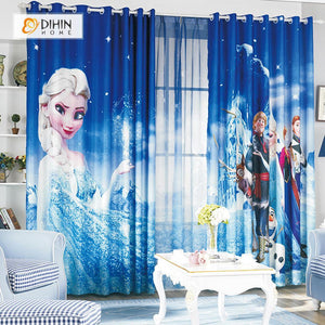 DIHINHOME Home Textile Modern Curtain DIHIN HOME 3D Printed Elegant Frozen Blackout Curtains ,Window Curtains Grommet Curtain For Living Room ,39x102-inch,2 Panels Included
