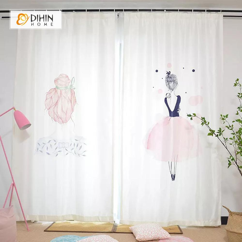 DIHINHOME Home Textile Modern Curtain DIHIN HOME 3D Printed Elegant Woman Blackout Curtains ,Window Curtains Grommet Curtain For Living Room ,39x102-inch,2 Panels Included
