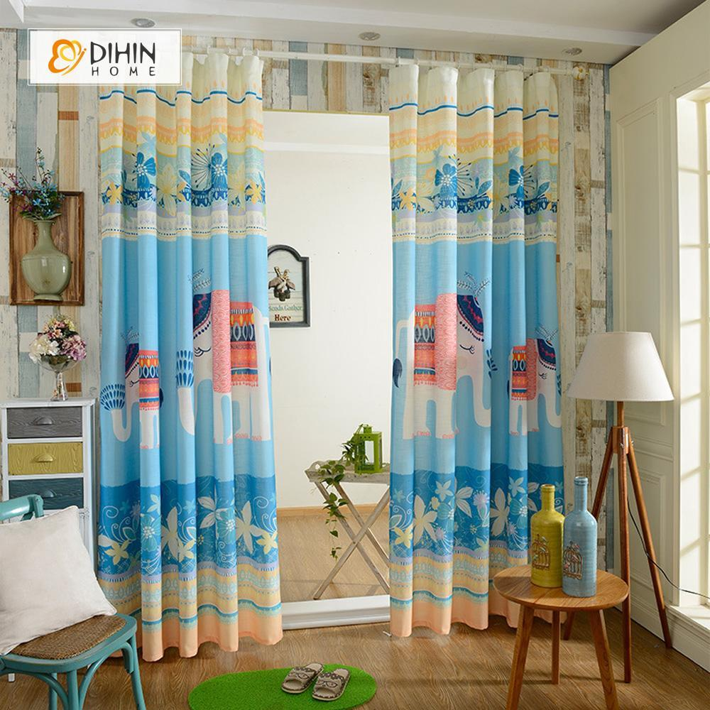 DIHINHOME Home Textile Modern Curtain DIHIN HOME 3D Printed Elephant and Flowers Blackout Curtains ,Window Curtains Grommet Curtain For Living Room ,39x102-inch,2 Panels Included