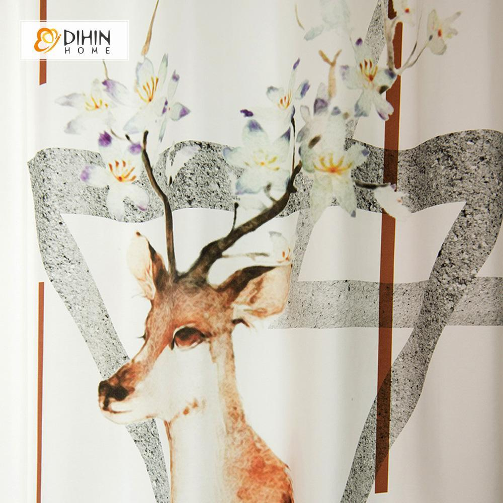 DIHINHOME Home Textile Modern Curtain DIHIN HOME 3D Printed Elk and Flowers Blackout Curtains ,Window Curtains Grommet Curtain For Living Room ,39x102-inch,2 Panels Included