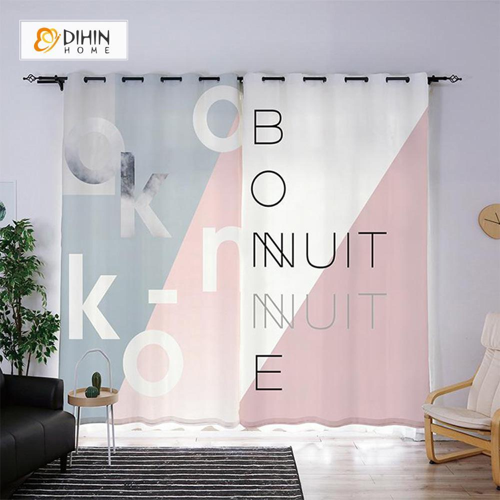 DIHINHOME Home Textile Modern Curtain DIHIN HOME 3D Printed English Alphabet Blackout Curtains ,Window Curtains Grommet Curtain For Living Room ,39x102-inch,2 Panels Included