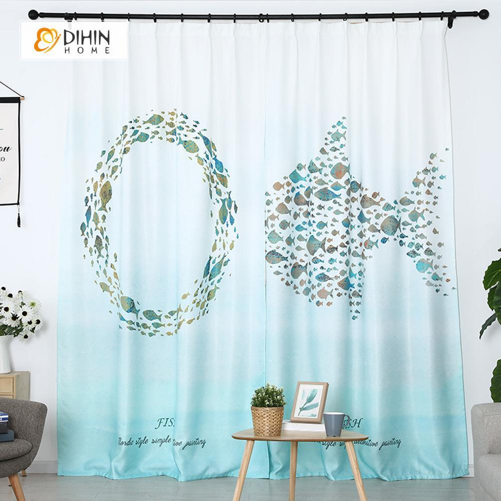 DIHINHOME Home Textile Modern Curtain DIHIN HOME 3D Printed Fish and Circular Blackout Curtains ,Window Curtains Grommet Curtain For Living Room ,39x102-inch,2 Panels Included