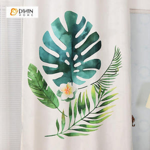 DIHINHOME Home Textile Modern Curtain DIHIN HOME 3D Printed Flowers and Leaves Blackout Curtains ,Window Curtains Grommet Curtain For Living Room ,39x102-inch,2 Panels Included