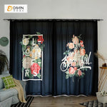 DIHINHOME Home Textile Modern Curtain DIHIN HOME 3D Printed Flowers Blackout Curtains ,Window Curtains Grommet Curtain For Living Room ,39x102-inch,2 Panels Included
