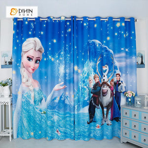 DIHINHOME Home Textile Modern Curtain DIHIN HOME 3D Printed Frozen Blackout Curtains ,Window Curtains Grommet Curtain For Living Room ,39x102-inch,2 Panels Included