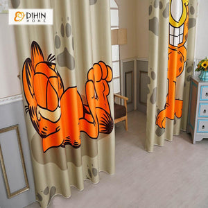 DIHINHOME Home Textile Modern Curtain DIHIN HOME 3D Printed Garfield Blackout Curtains ,Window Curtains Grommet Curtain For Living Room ,39x102-inch,2 Panels Included