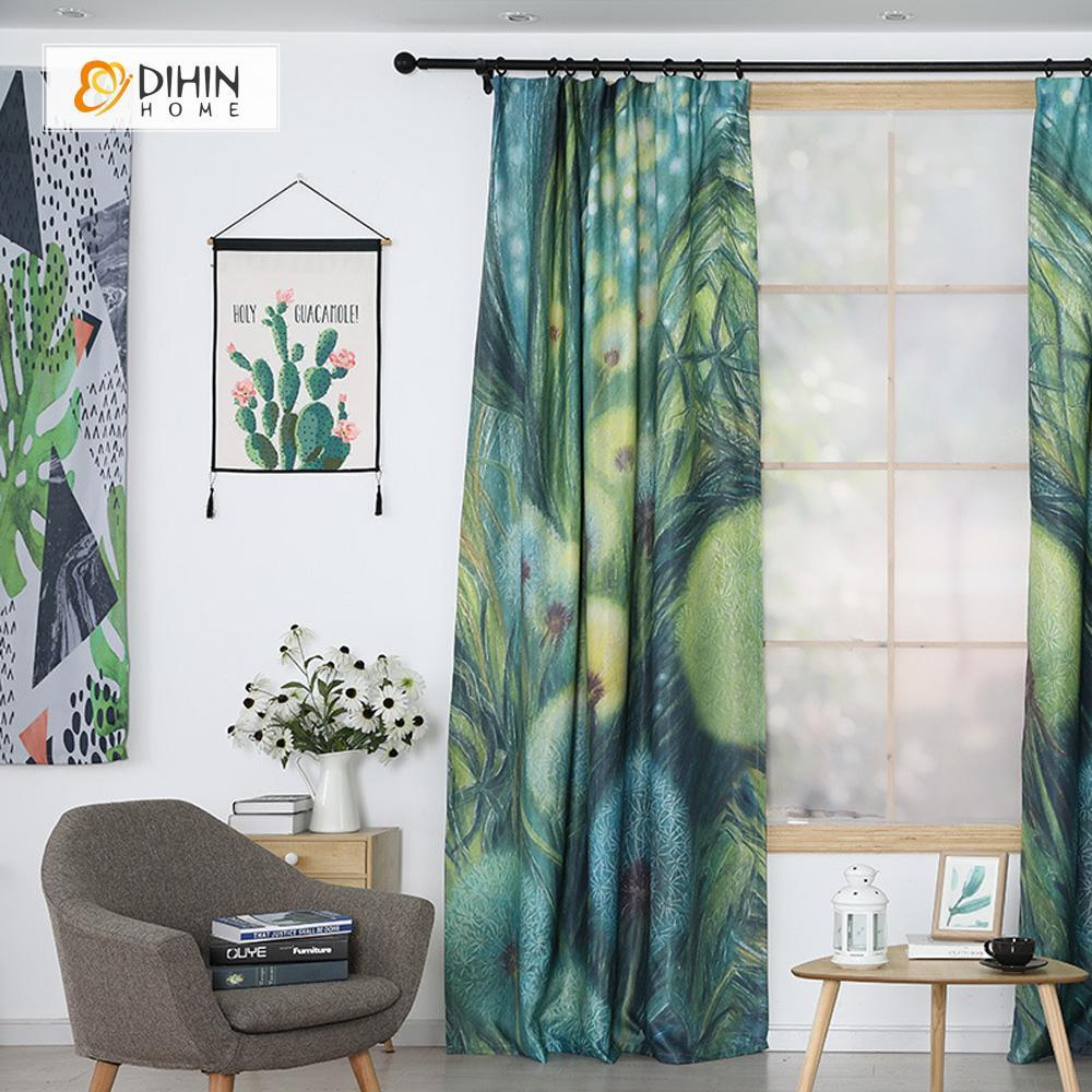 DIHINHOME Home Textile Modern Curtain DIHIN HOME 3D Printed Green Dandelion Blackout Curtains ,Window Curtains Grommet Curtain For Living Room ,39x102-inch,2 Panels Included
