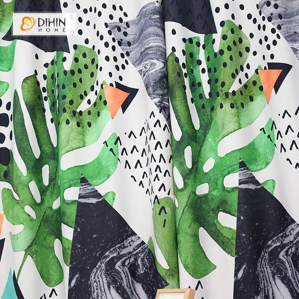 DIHINHOME Home Textile Modern Curtain DIHIN HOME 3D Printed Green Leaves and Triangle Blackout Curtains ,Window Curtains Grommet Curtain For Living Room ,39x102-inch,2 Panels Included