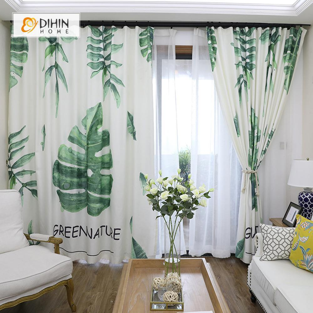 DIHINHOME Home Textile Modern Curtain DIHIN HOME 3D Printed Green Tree Blackout Curtains ,Window Curtains Grommet Curtain For Living Room ,39x102-inch,2 Panels Included