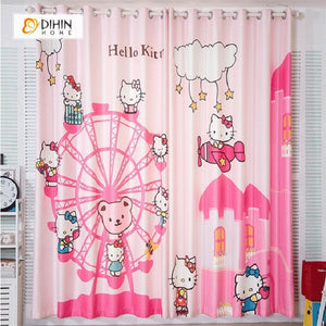 DIHINHOME Home Textile Modern Curtain DIHIN HOME 3D Printed Hello Kitty and Sky Wheel Blackout Curtains ,Window Curtains Grommet Curtain For Living Room ,39x102-inch,2 Panels Included