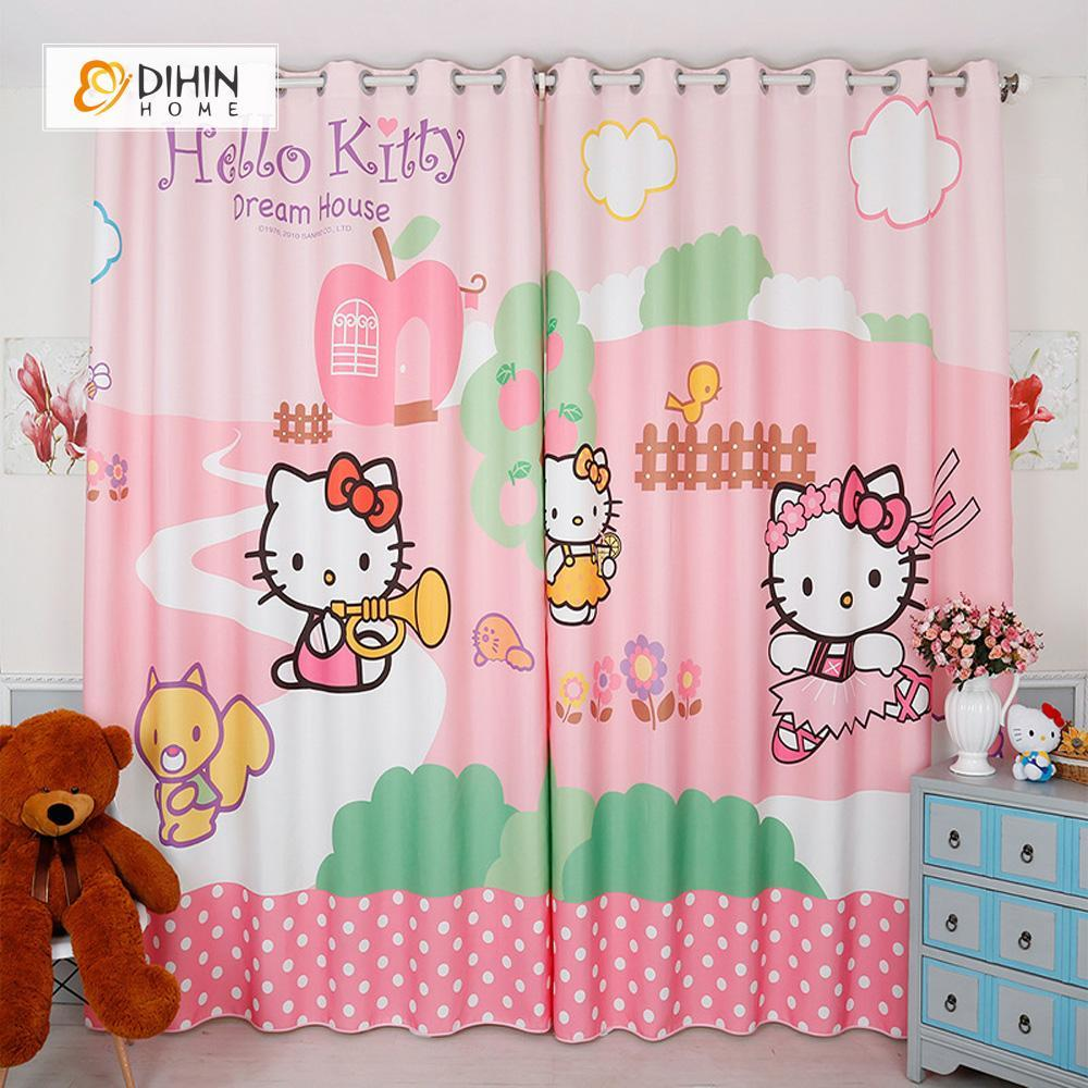 DIHINHOME Home Textile Modern Curtain DIHIN HOME 3D Printed Hello Kitty Blackout Curtains ,Window Curtains Grommet Curtain For Living Room ,39x102-inch,2 Panels Included