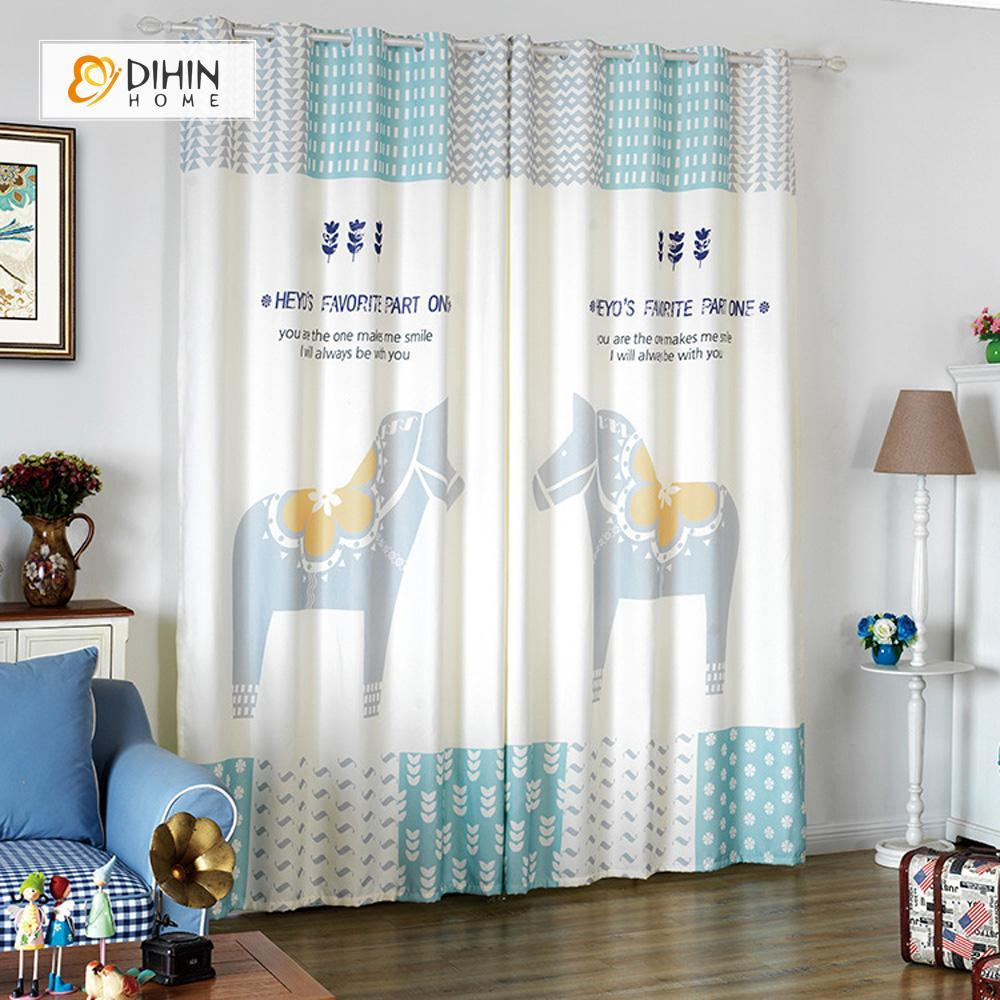 DIHINHOME Home Textile Modern Curtain DIHIN HOME 3D Printed Horses Blackout Curtains ,Window Curtains Grommet Curtain For Living Room ,39x102-inch,2 Panels Included