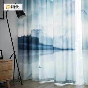 DIHINHOME Home Textile Modern Curtain DIHIN HOME 3D Printed Ink Painting Blackout Curtains ,Window Curtains Grommet Curtain For Living Room ,39x102-inch,2 Panels Included