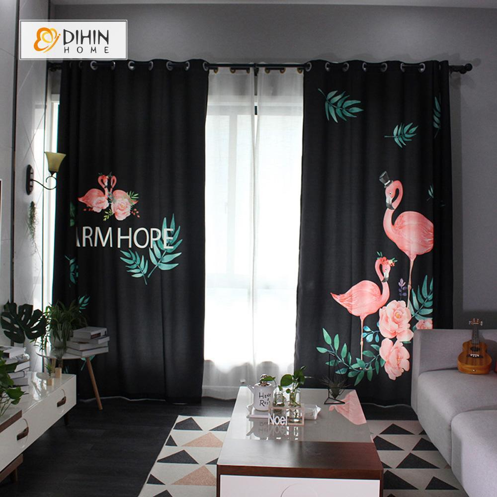 DIHINHOME Home Textile Modern Curtain DIHIN HOME 3D Printed Leaf and Crane Blackout Curtains ,Window Curtains Grommet Curtain For Living Room ,39x102-inch,2 Panels Included