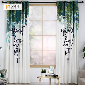 DIHINHOME Home Textile Modern Curtain DIHIN HOME 3D Printed Leaves and Words Blackout Curtains ,Window Curtains Grommet Curtain For Living Room ,39x102-inch,2 Panels Included