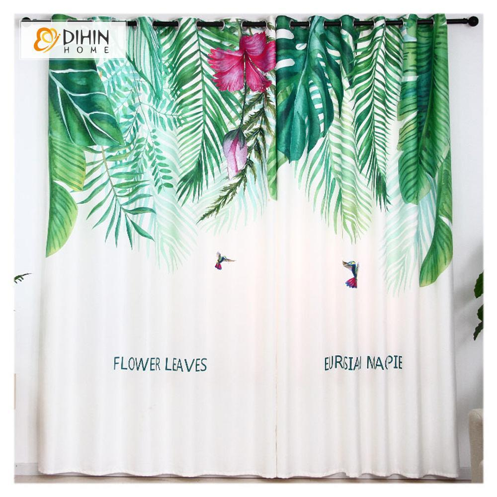 DIHINHOME Home Textile Modern Curtain DIHIN HOME 3D Printed Leaves Blackout Curtains ,Window Curtains Grommet Curtain For Living Room ,39x102-inch,2 Panels Included