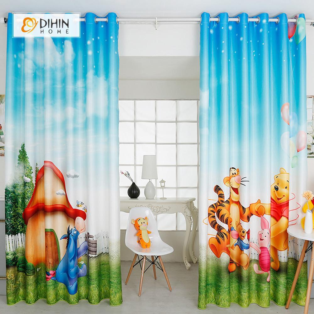 DIHINHOME Home Textile Modern Curtain DIHIN HOME 3D Printed Little Bear Vigny Blackout Curtains ,Window Curtains Grommet Curtain For Living Room ,39x102-inch,2 Panels Included