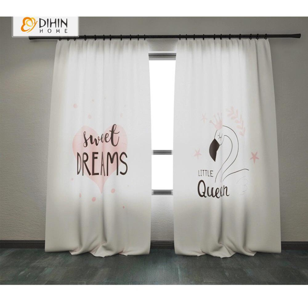 DIHINHOME Home Textile Modern Curtain DIHIN HOME 3D Printed Little Queen Blackout Curtains ,Window Curtains Grommet Curtain For Living Room ,39x102-inch,2 Panels Included