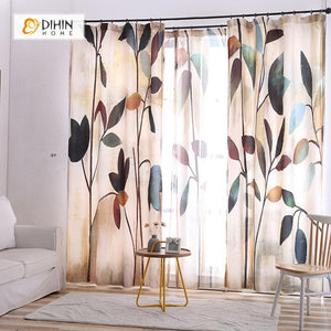 DIHINHOME Home Textile Modern Curtain DIHIN HOME 3D Printed Long Leaves Blackout Curtains ,Window Curtains Grommet Curtain For Living Room ,39x102-inch,2 Panels Included