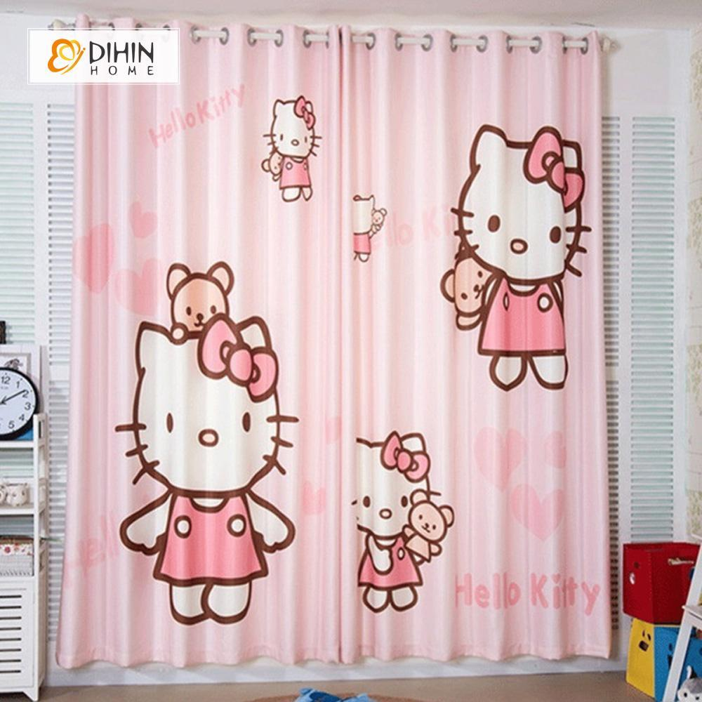 DIHINHOME Home Textile Modern Curtain DIHIN HOME 3D Printed Lovely Hello Kitty Blackout Curtains ,Window Curtains Grommet Curtain For Living Room ,39x102-inch,2 Panels Included