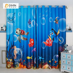 DIHINHOME Home Textile Modern Curtain DIHIN HOME 3D Printed Nemo Blackout Curtains ,Window Curtains Grommet Curtain For Living Room ,39x102-inch,2 Panels Included