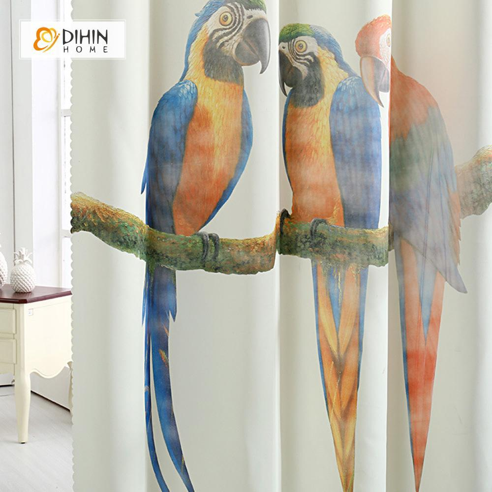 DIHINHOME Home Textile Modern Curtain DIHIN HOME 3D Printed Parrots on Branches Blackout Curtains ,Window Curtains Grommet Curtain For Living Room ,39x102-inch,2 Panels Included