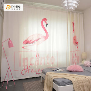 DIHINHOME Home Textile Modern Curtain DIHIN HOME 3D Printed Pink Crane Blackout Curtains ,Window Curtains Grommet Curtain For Living Room ,39x102-inch,2 Panels Included