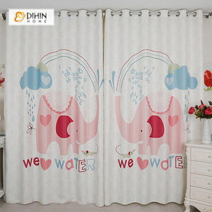 DIHINHOME Home Textile Modern Curtain DIHIN HOME 3D Printed Pink Elephant Blackout Curtains ,Window Curtains Grommet Curtain For Living Room ,39x102-inch,2 Panels Included
