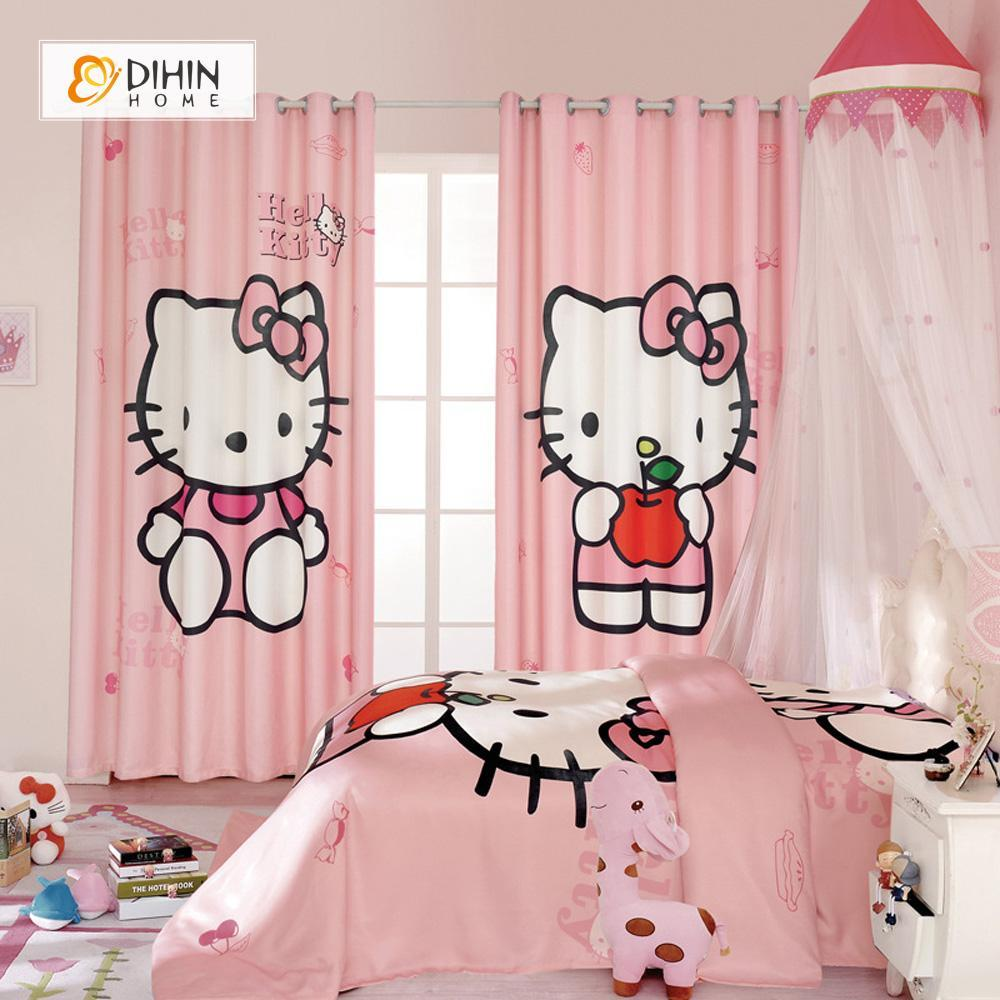 DIHINHOME Home Textile Modern Curtain DIHIN HOME 3D Printed Pink Hello Kitty Blackout Curtains ,Window Curtains Grommet Curtain For Living Room ,39x102-inch,2 Panels Included