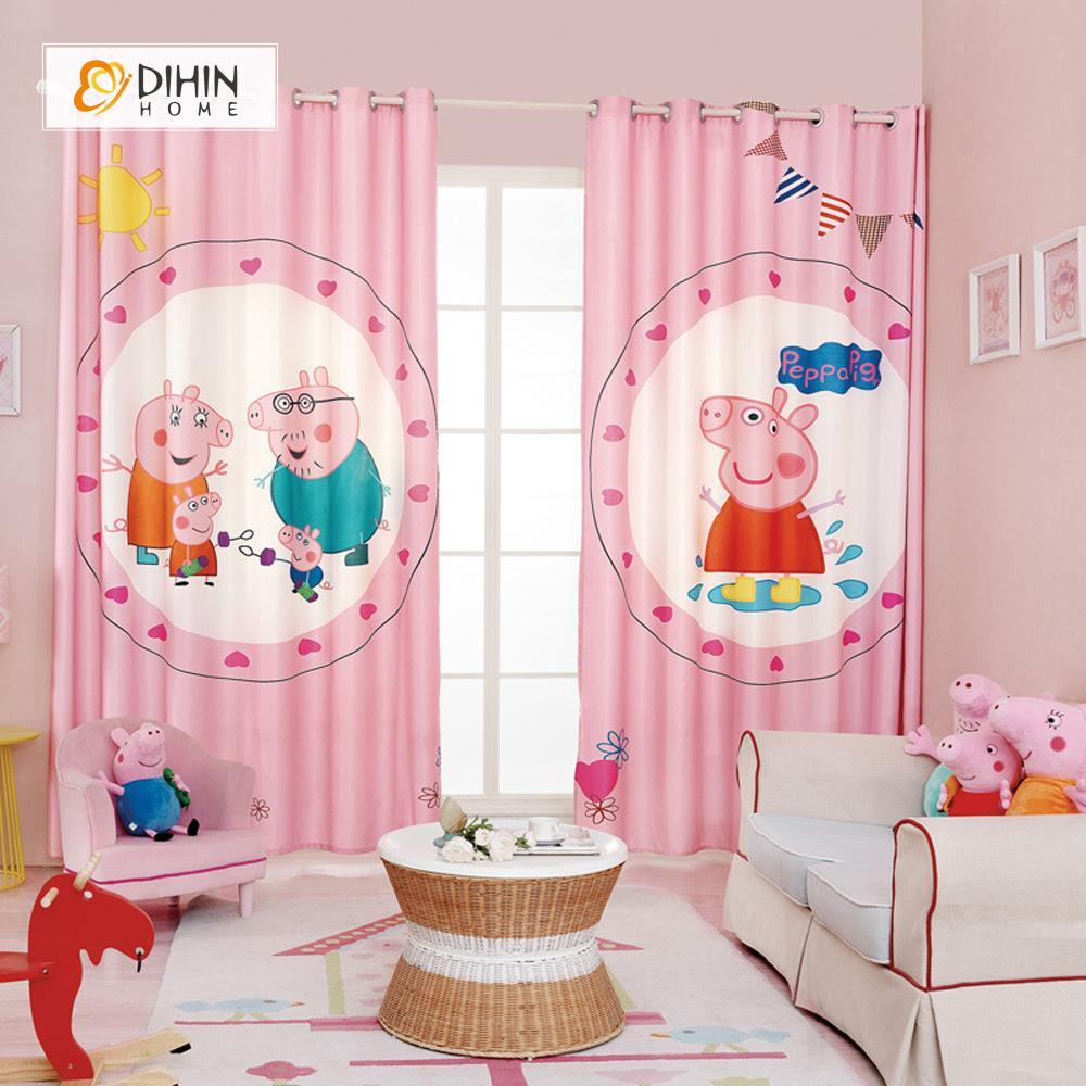 DIHINHOME Home Textile Modern Curtain DIHIN HOME 3D Printed Pink Peppa Pig Blackout Curtains ,Window Curtains Grommet Curtain For Living Room ,39x102-inch,2 Panels Included
