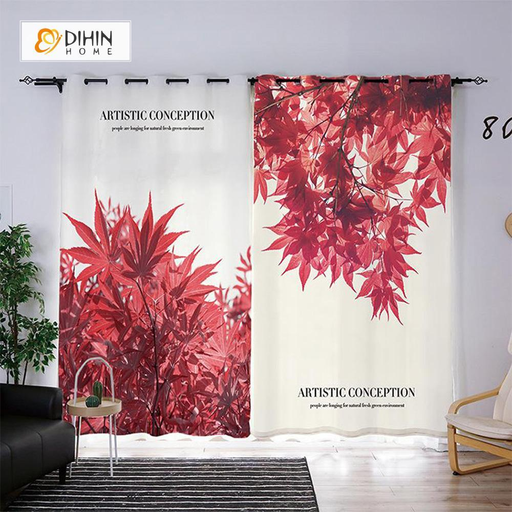 DIHINHOME Home Textile Modern Curtain DIHIN HOME 3D Printed Red Maple Leaf Blackout Curtains ,Window Curtains Grommet Curtain For Living Room ,39x102-inch,2 Panels Included