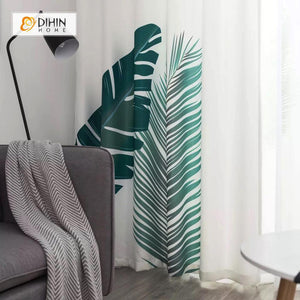 DIHINHOME Home Textile Modern Curtain DIHIN HOME 3D Printed Simple Leaves Blackout Curtains ,Window Curtains Grommet Curtain For Living Room ,39x102-inch,2 Panels Included