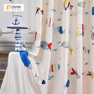 DIHINHOME Home Textile Modern Curtain DIHIN HOME 3D Printed Specific Fish Blackout Curtains ,Window Curtains Grommet Curtain For Living Room ,39x102-inch,2 Panels Included