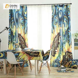 DIHINHOME Home Textile Modern Curtain DIHIN HOME 3D Printed Sunflower Blackout Curtains ,Window Curtains Grommet Curtain For Living Room ,39x102-inch,2 Panels Included