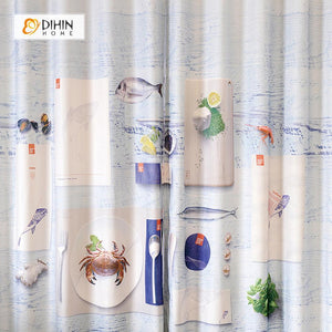 DIHINHOME Home Textile Modern Curtain DIHIN HOME 3D Printed Tableware and Crab Blackout Curtains ,Window Curtains Grommet Curtain For Living Room ,39x102-inch,2 Panels Included