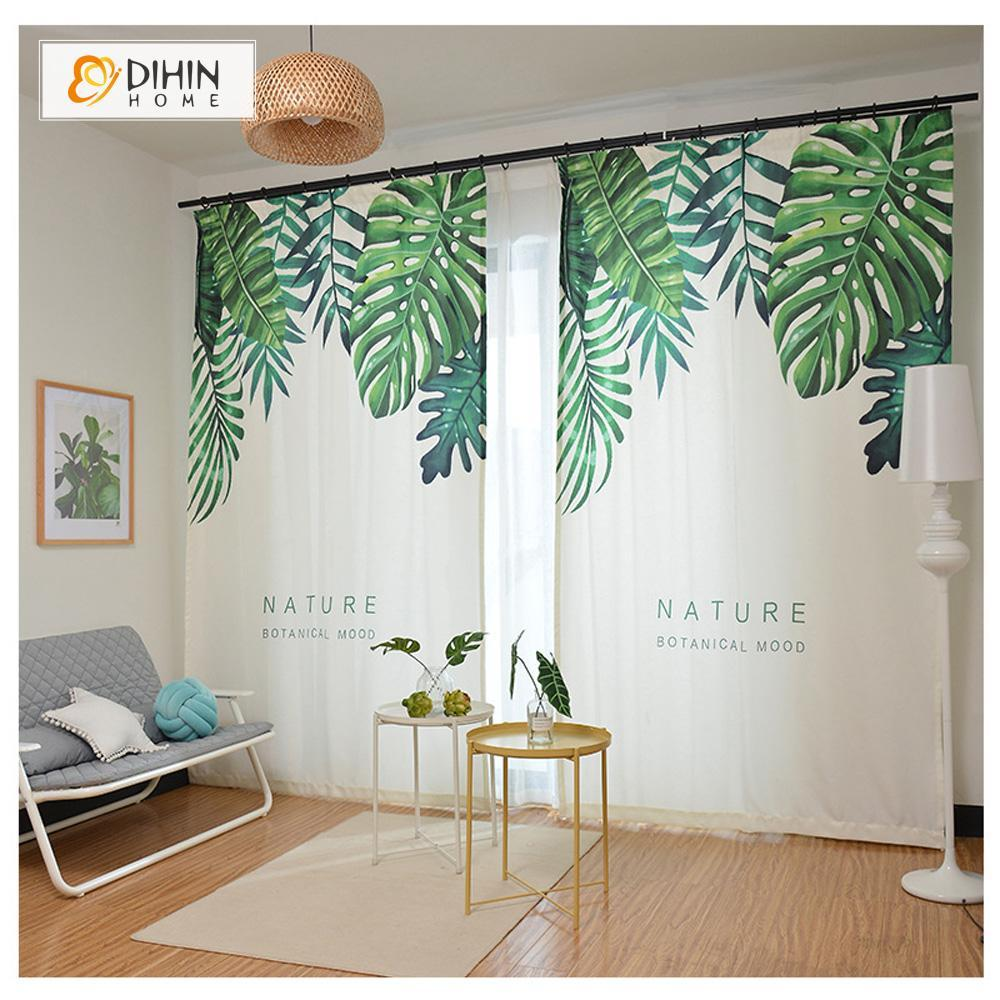 DIHINHOME Home Textile Modern Curtain DIHIN HOME 3D Printed Top Leaves Blackout Curtains ,Window Curtains Grommet Curtain For Living Room ,39x102-inch,2 Panels Included