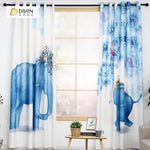 DIHINHOME Home Textile Modern Curtain DIHIN HOME 3D Printed Two Blue Elephant Blackout Curtains ,Window Curtains Grommet Curtain For Living Room ,39x102-inch,2 Panels Included
