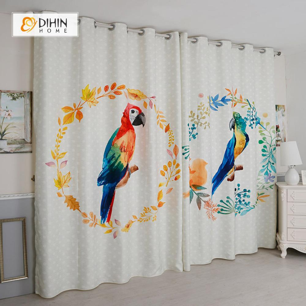 DIHINHOME Home Textile Modern Curtain DIHIN HOME 3D Printed Two Parrot Blackout Curtains ,Window Curtains Grommet Curtain For Living Room ,39x102-inch,2 Panels Included